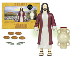 Deluxe Miracle Edition - Jesus Action Figure...ok, I don't know what the worst part about this is but I've narrowed it down to 1. the fact that there is an original version as well as a deluxe miracle version 2. this action figure depicts Jesus as cracker white or 3. the part about the hands glowing in the dark...