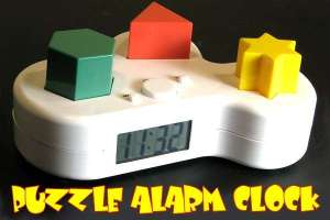 Ok so you set your alarm..then when the alarm goes off, not only does it make the horrible death noises of a regular alarm clock, but it also shoots the 3 colored shapes out from their holding spots, and the death noises don't stop until you get all 3 shapes back in the correct place. REALLY?! Like it isn't tramatic enough to just wake up every morning...